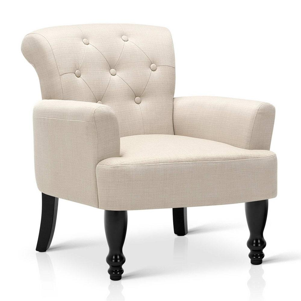 French Provincial Wing Arm Chair, Linen Fabric - TAUPE