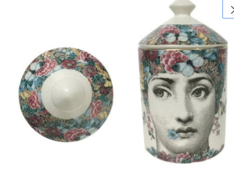 Fornasetti Jar, Candle Holder - Flower Mouth, Suit Jewelry Storage Dish Ornaments - Black White Vintage Retro Piero