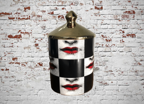 Fornasetti Jar, Candle Holder - Red Lips Checker, Suit Jewelry Storage Dish Ornaments - Black White Vintage Retro Piero