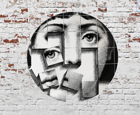 Fornasetti Wall Plate Decorative - Puzzle Face, 8 Inch Ceramic Wall Art Home Decor Dish Ornament Black White Vintage Retro Piero