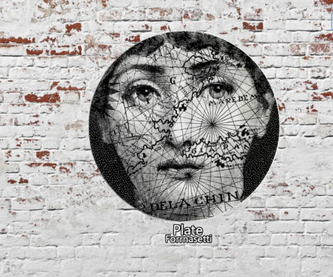 Fornasetti Wall Plate Decorative - World Map, 8 Inch Ceramic Wall Art Home Decor Dish Ornament Black White Vintage Retro Piero