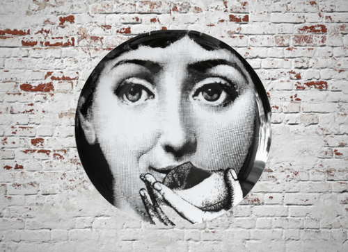 Fornasetti Wall Plate Decorative - Apple Eating, 8 Inch Ceramic Wall Art Home Decor Dish Ornament Black White Vintage Retro Piero