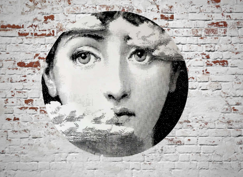 Fornasetti Wall Plate Decorative - Clouds on Face, 8 Inch Ceramic Wall Art Home Decor Dish Ornament Black White Vintage Retro Piero