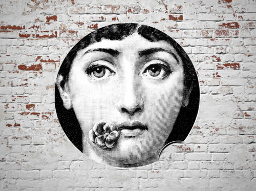 Fornasetti Wall Plate Decorative - Flower on Mouth, 8 Inch Ceramic Wall Art Home Decor Dish Ornament Black White Vintage Retro Piero