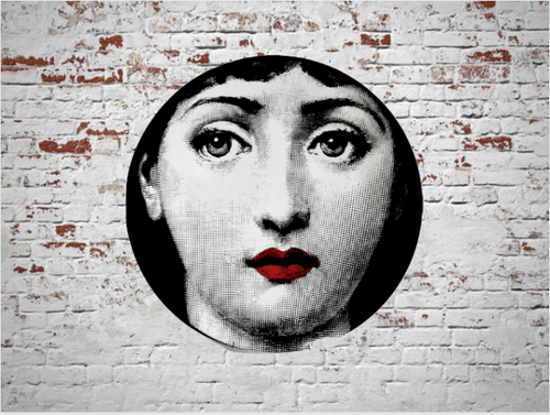 Fornasetti Wall Plate Decorative - Red Lips, 8 Inch Ceramic Wall Art Home Decor Dish Ornament Black White Vintage Retro Piero