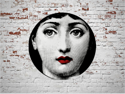 Fornasetti Wall Plate Decorative - Eye Patch Pirate Face,  8 Inch Ceramic Wall Art Home Decor Dish Ornament Black White Vintage Retro Piero