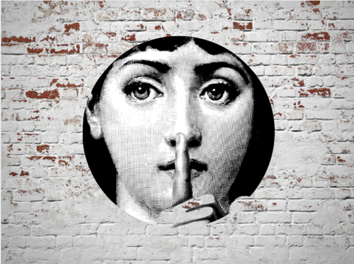Fornasetti Wall Plate Decorative - Shhh Quiet, 8 Inch Ceramic Wall Art Home Decor Dish Ornament Black White Vintage Retro Piero