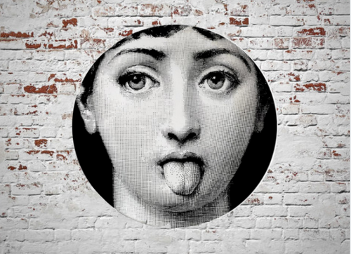 Fornasetti Wall Plate Decorative - Tongue Out, 8 Inch Ceramic Wall Art Home Decor Dish Ornament Black White Vintage Retro Piero