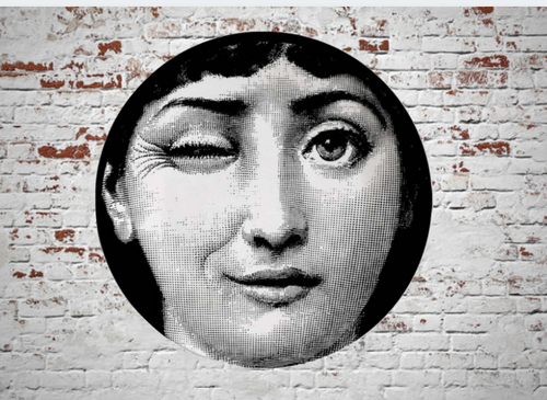 Fornasetti Wall Plate Decorative - Winking Face, 8 Inch Ceramic Wall Art Home Decor Dish Ornament Black White Vintage Retro Piero