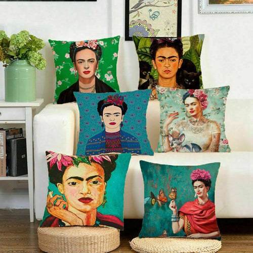 Frida Kahlo Cushion Pillow -  Various Self Portraits, Linen Cover, Size 45x45cm