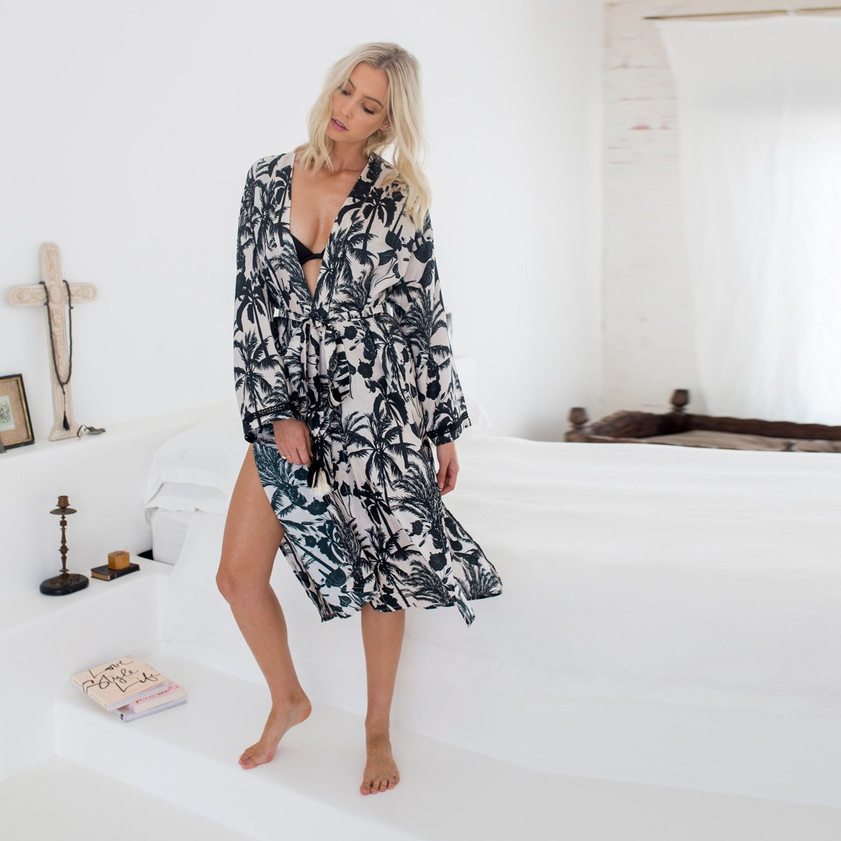 Silk Robe - Everyday Luxury - SASKIA in Neutral Palm, Australian Designer