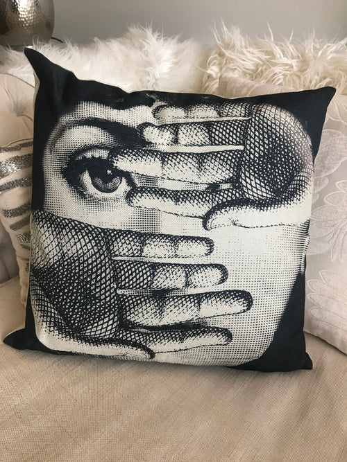Fornasetti Pillow Cushion, Two Hands - Cushion Cover Pillow Case 45cm x 45cm Home Decor, Lina Cavalieri Floral Bedroom Living Room