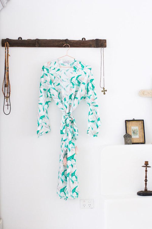 Silk Robe - Everyday Luxury - SASKIA in Hawaiian Bird of Paradise, Australian Designer