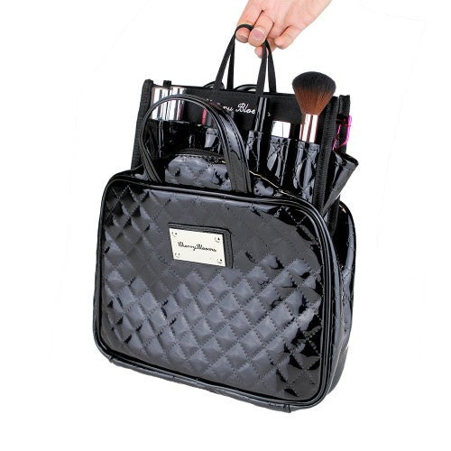 BEAUTY ORGANISER, BLACK PATENT QUILTED (2 PIECE SET) - Cherry Blooms, Australian Designed