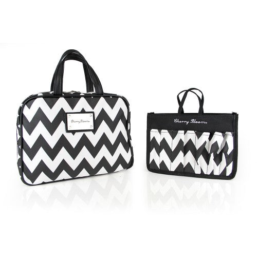 BEAUTY ORGANISER, CHEVRON MONOCHROME (2 PIECE SET) - Cherry Blooms, Australian Designed
