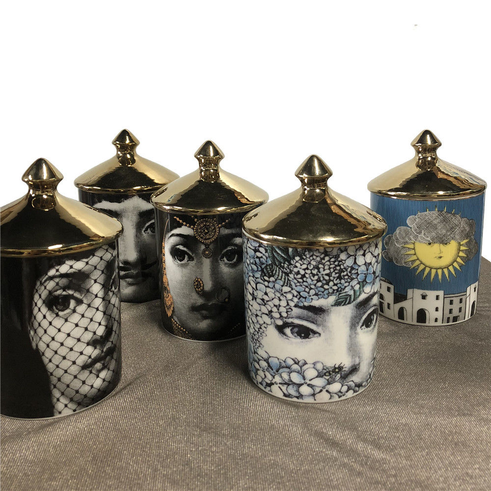 Fornasetti Jar, Candle Holder - Eye Patch Gold, Suit Jewelry Storage Dish Ornaments - Black White Vintage Retro Piero