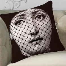 Fornasetti Pillow Cushion, Shhh Quiet- Cushion Cover Pillow Case 45cm x 45cm Home Decor, Lina Cavalieri Floral Bedroom Living Room