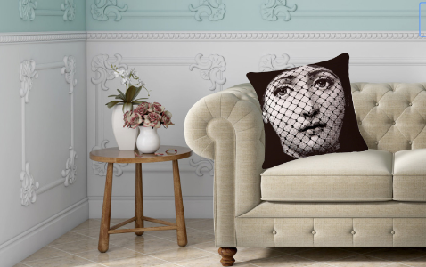 Fornasetti Pillow Cushion, Fishnet Face - Cushion Cover Pillow Case 45cm x 45cm Home Decor, Lina Cavalieri Floral Bedroom Living Room