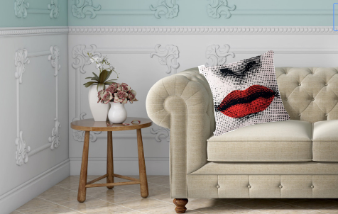 Fornasetti Pillow Cushion, Red Lips- Cushion Cover Pillow Case 45cm x 45cm Home Decor, Lina Cavalieri Floral Bedroom Living Room