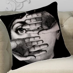 Fornasetti Pillow Cushion, Winking Face - Cushion Cover Pillow Case 45cm x 45cm Home Decor, Lina Cavalieri Floral Bedroom Living Room