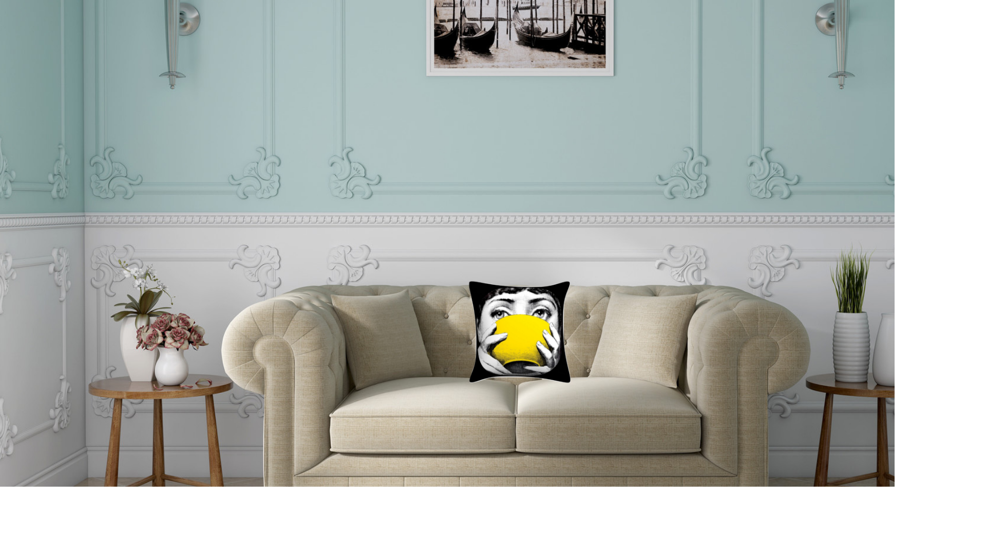 Fornasetti Pillow Cushion Yellow Bowl - Cushion Cover Pillow Case 45cm x 45cm Home Decor, Lina Cavalieri Floral Bedroom Living Room