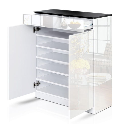 High Gloss Shoe Cabinet - Shoes Rack Organiser W/ Adjustable Storage 24 Pairs In Black White