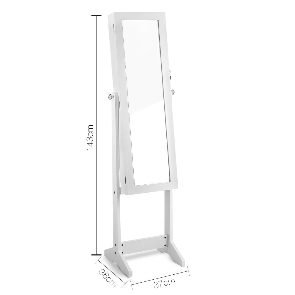 Mirror Jewellery Cabinet - Wooden Storage Box Full Length -143cm White