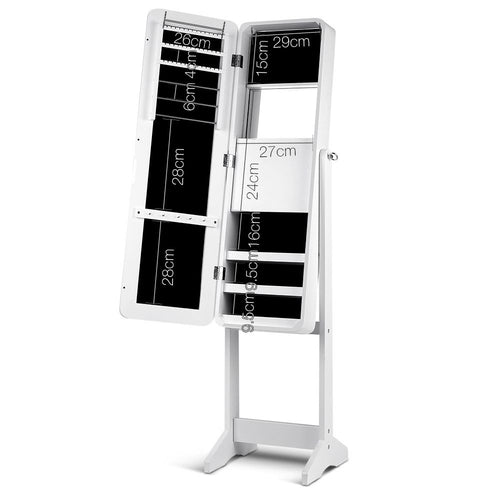Mirror Jewellery Cabinet - Wooden Storage Box Full Length -143cm White, LED