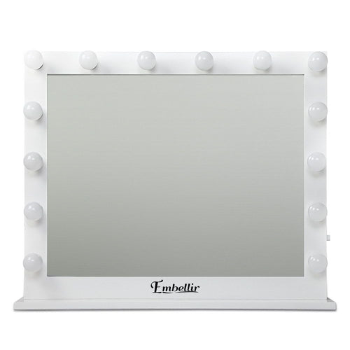 Hollywood Makeup Mirror - WHITE Horizontal, 65x80cm, Dressing Table Vanity White, LED