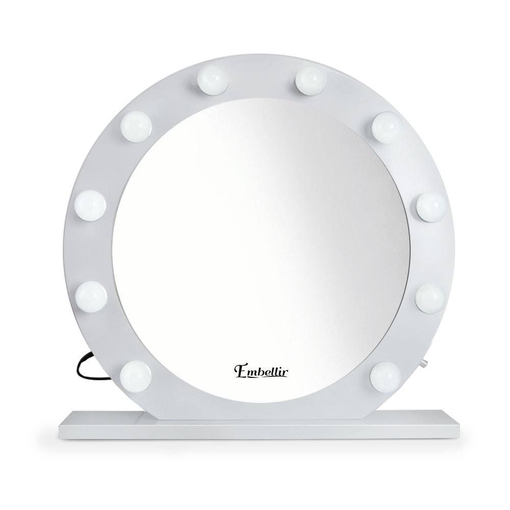 Hollywood Makeup Mirror - ROUND, 68x68cm, Dressing Table Vanity White, LED