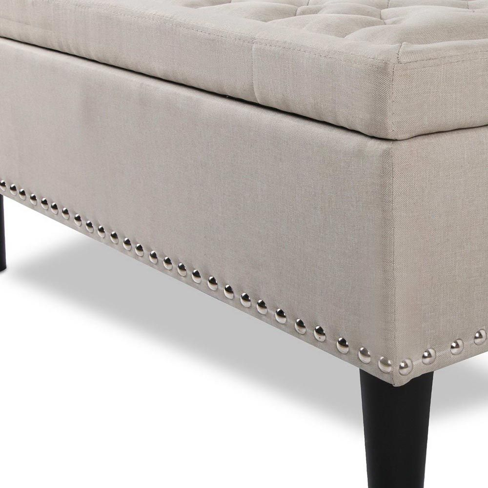 Ottoman Storage, Blanket Box Storage - Foot Stool Bench - Taupe