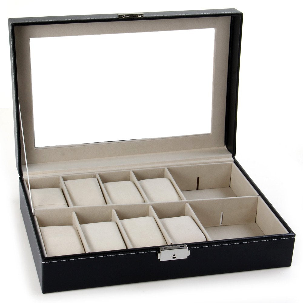 Watch Case Display Box - 12 Grid Leather Faux, Black