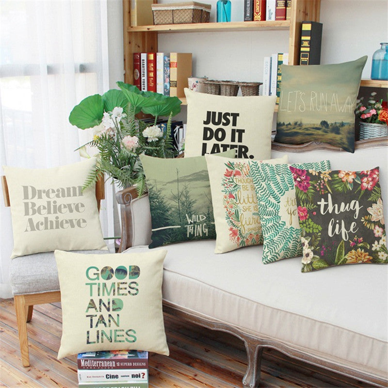 Hot Quote Printed Linen Throw Pillow Cover Case for Car Dining Chair Sofa Office Waist Cushion Pillowcase Home Decorative