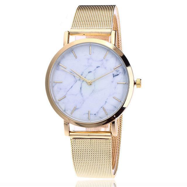 Marble Face Watch, Mesh Strap - Silver, Gold, Rose Gold - Women's Casual Quartz