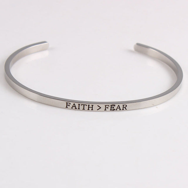 Mantra Bracelets, Inspirational Quotes, SILVER - Assorted Designs