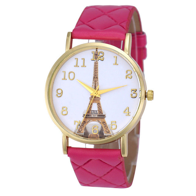 Paris Eiffel Tower Watch, Quilted Band - Women's Quartz