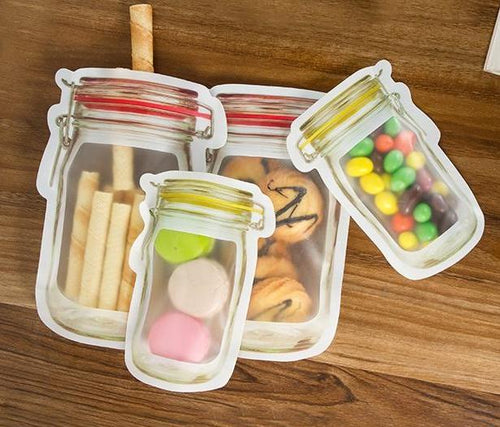 Mason Jar Ziplock Bag - standing, Reusable Snack Bag - Pack of 3