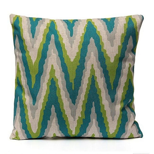 Green, Lime and Blue Cushion - Chevron style, 45x45cm
