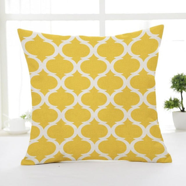 Geometric Patterns Linen Throw Pillow Case