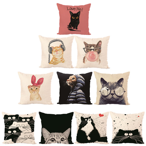 Cat Lovers Cushions - Assorted Designs, Cover only, 45x45cm