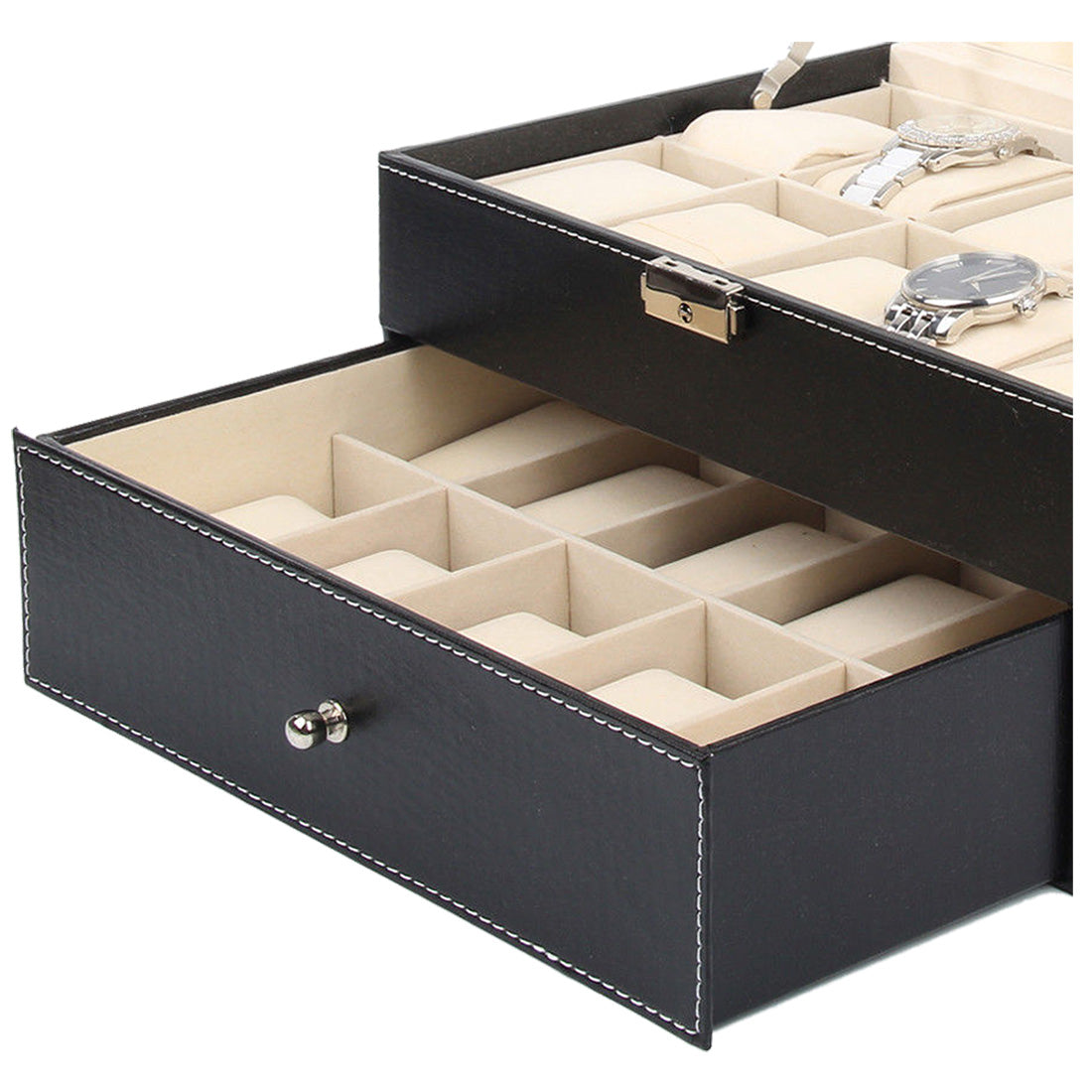 Watch Case Display Box  - 20 Grid Leather Faux, Black