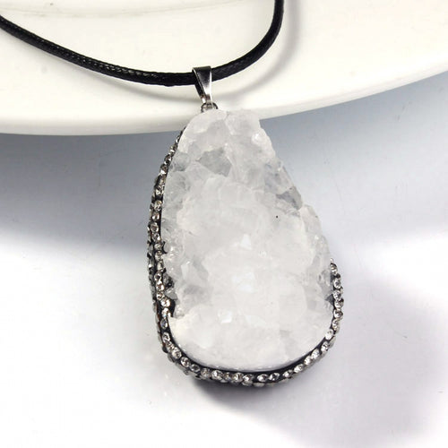 Crystal Quartz - Silver Plated Inlay Rhinestone Pendant - Reiki