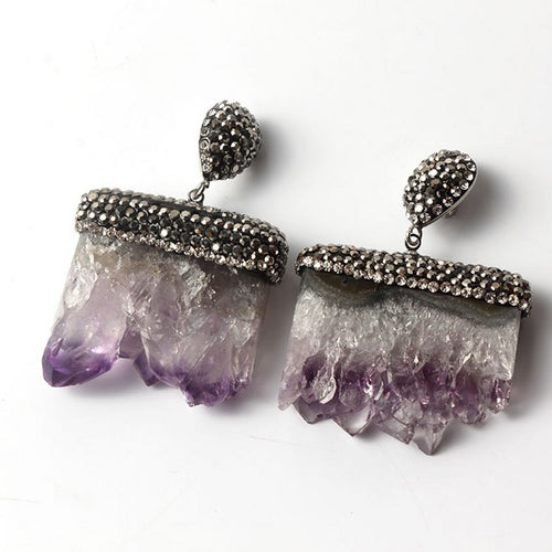Amethyst Earrings Silver Plated Inlay Rhinestone