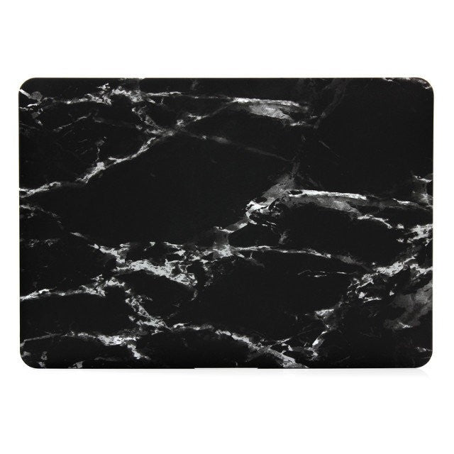 Marble Laptop Case BLACK with Logo - Hard Cover for Macbook Air, Pro 11 12 13 15 inch sizes