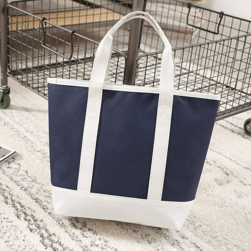 Nautical Navy Beige Large Reusable Grocery Market Tote Bag, Foldable Shopping Bag canvas cotton Eco Friendly Bag, Beach bag