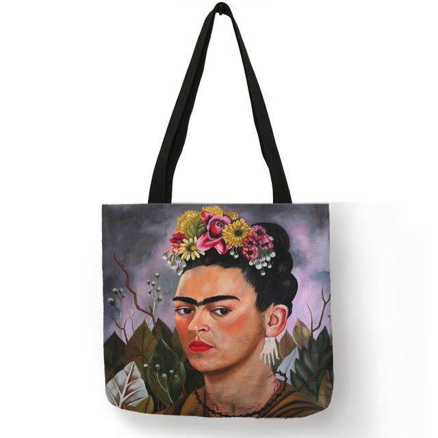 Frida Kahlo Bag, Eco Bag  Print Linen - Stylish Shopping Bag