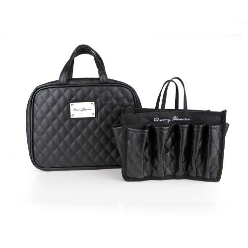 BEAUTY ORGANISER, BLACK MATTE QUILTED (2 PIECE SET) - Cherry Blooms, Australian Designed