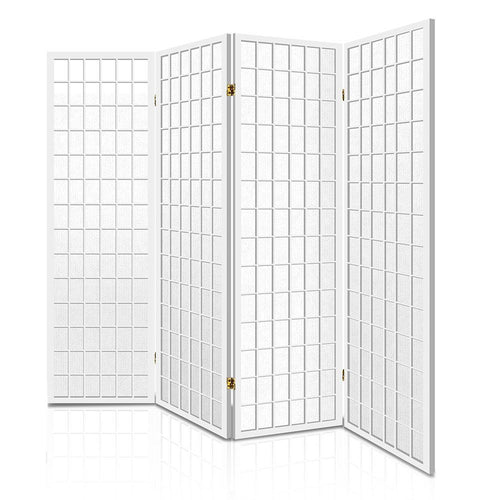 4 Panel Room Divider Solid Pine Wood White Folding Screen 174cm Wide - WHITE