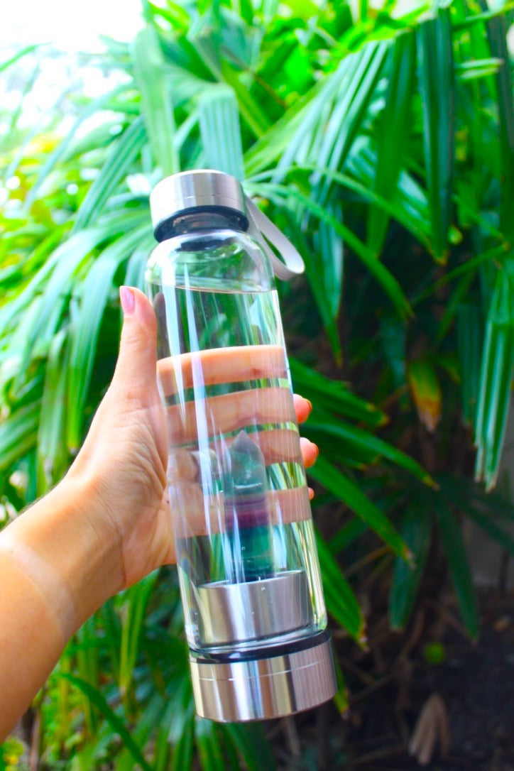 Crystal Water Bottle - Fluorite Obelisk Wand Crystal Infused Water Glass bottle - FOCUS & ENERGY