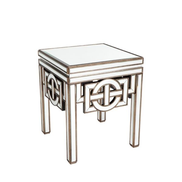 Antique Mirrored Furniture - Beveled Side Table, Art Deco